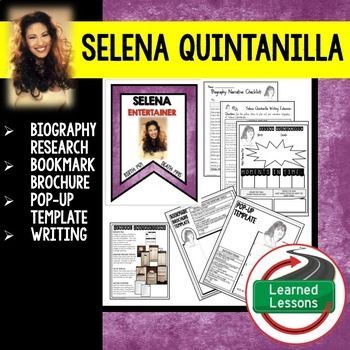 Women's History Selena Quintanilla Biography Research, Bookmark, Pop-Up, Writing