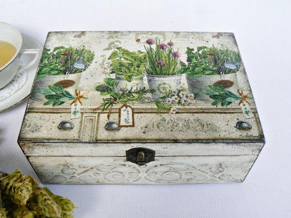 RESERVED LISTING Vintage look Unique wooden tea box by Ellinna