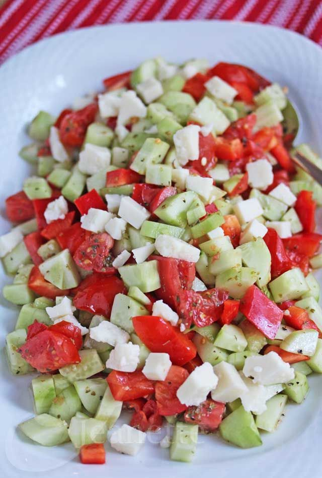 Cucumber Tomato Pepper Salad with Extra-Aged Goat Cheese Recipe - Jeanette's Healthy Living