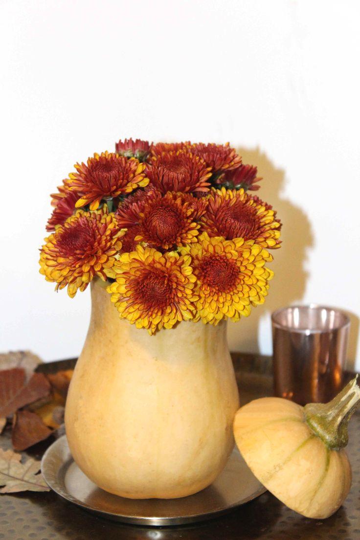 Butternutkürbis als Blumenvase