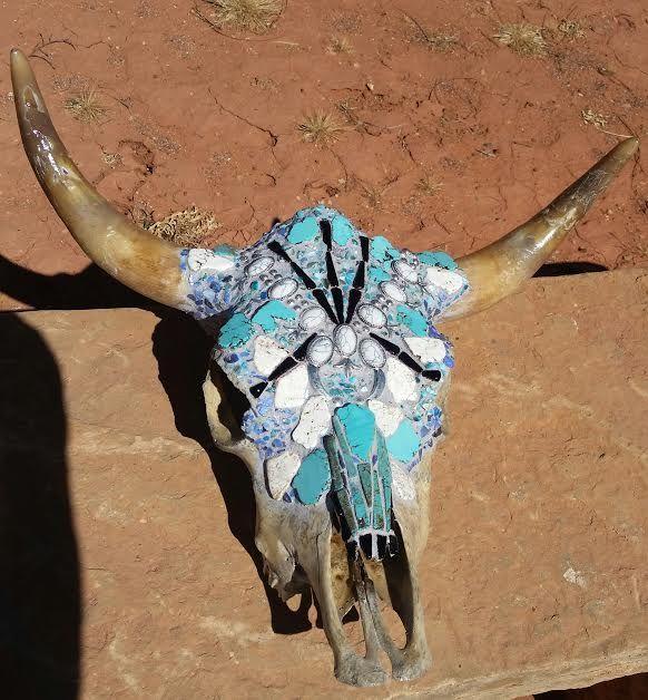 Steer skull for sale at Juniper Sky Gallery Kayenta, Ivins, Utah