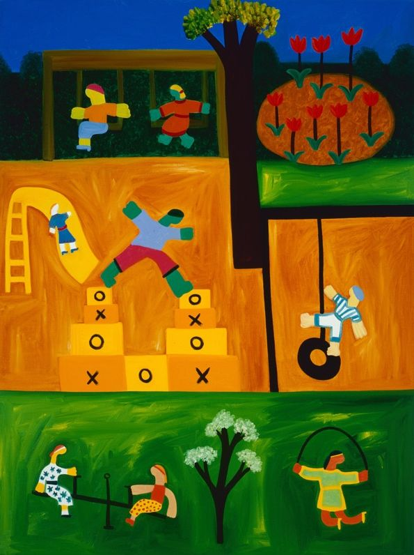 The Playground, 2001. Oil on linen, 122 x 92 cm. Exhibition: Jump into Reality. Private collection. #painting #oilpainting #finearts #contemporaryart #cristinarodriguez