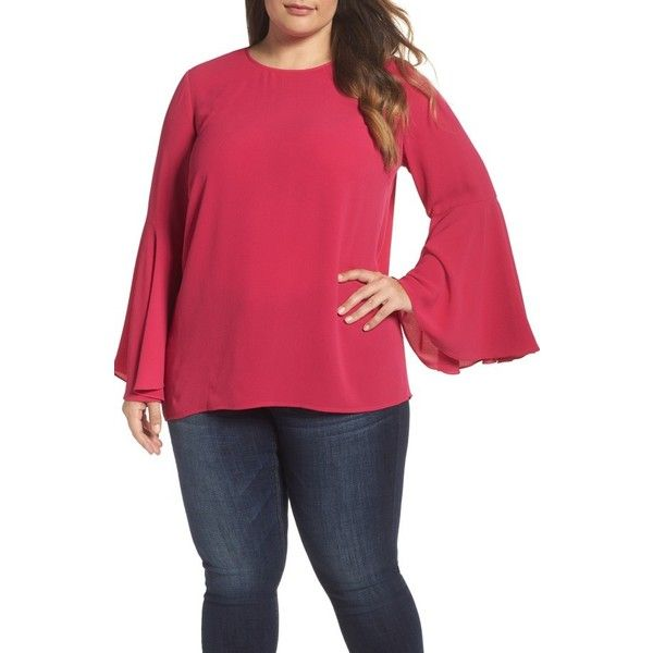 Plus Size Women's Vince Camuto Bell Sleeve Blouse (1.625 ARS) ❤ liked on Polyvore featuring plus size women's fashion, plus size clothing, plus size tops, plus size blouses, plus size, rose dahlia, plus size red tops, red blouse, crepe blouse and women's plus size tops