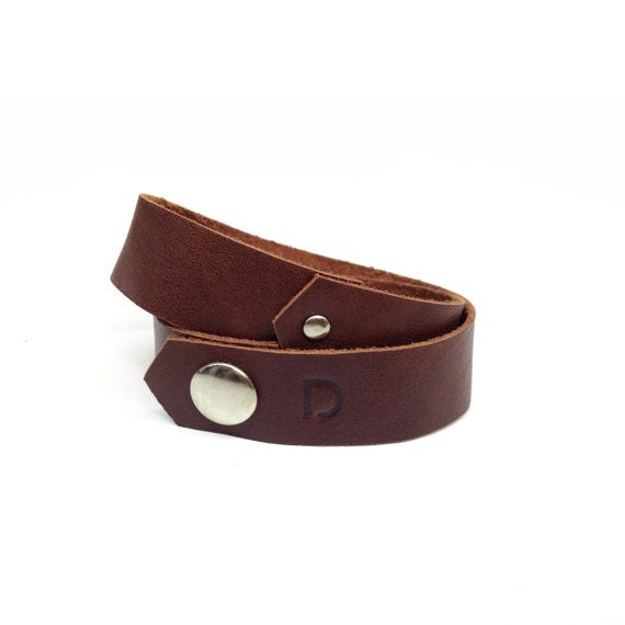 Double strap bracelets are available in 4 colours: cherry wood, nubuck chow, dark grey & nubuck khaki. Own logo pressed and made for him.