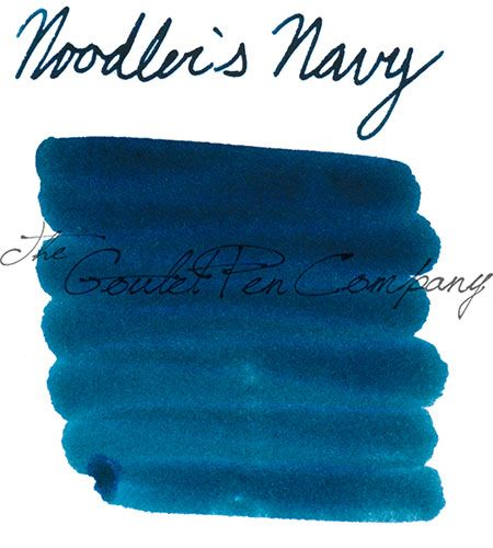 A 2ml sample of Noodler's Navy fountain pen ink, in a labeled plastic vial.