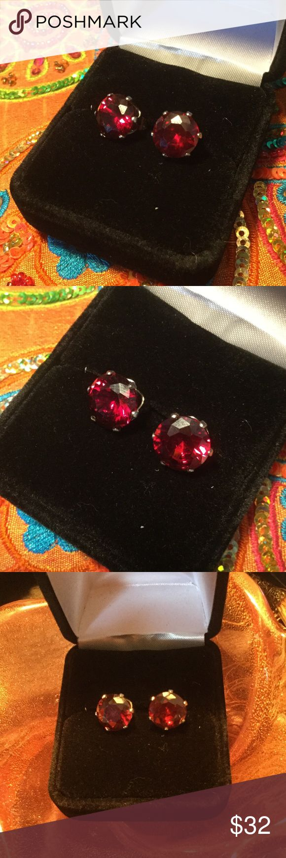 🔥 Fiery Garnet Earrings 🔥 Deep fiery Garnet studs,  2ctw of mesmerizing glamour.  The richness of a fine burgundy wine frame your face with a lux look.  14 K HGE Wear to the boardroom to through an evening rendezvous.  Genuine Garnet Quartz alive like burning embers. Atlanta Auction Jewelry Earrings