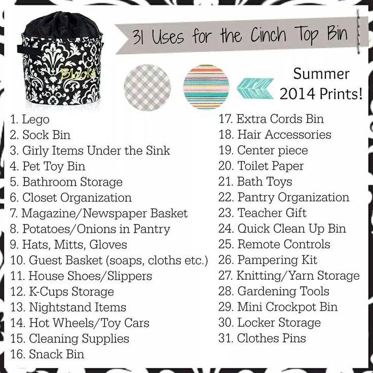 Cinch Top Bin product Ideas. Thirty-One Gifts Www.mythirtyone.com/JanelleFoster