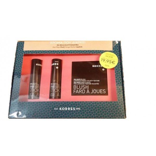 Korres Set Χρώμα που Διαρκεί σε Χείλη & Ζυγωματικά (Zea Mays Ρουζ 42apricot 7g,Mango Butter Lipstick 25 Natural Rose 3.5g,Mango Butter Lipstick 33 Nude 3.5g)