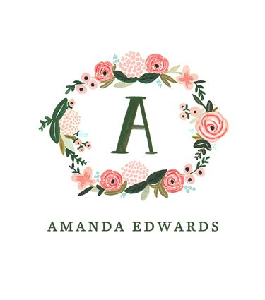 Monogrammed Floral Notes & Calling Cards
