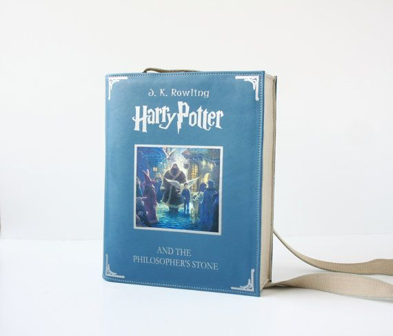 """""""Harry Potter and the Philosopher's Stone"""" by J.K. Rowling - blue leather bag"""
