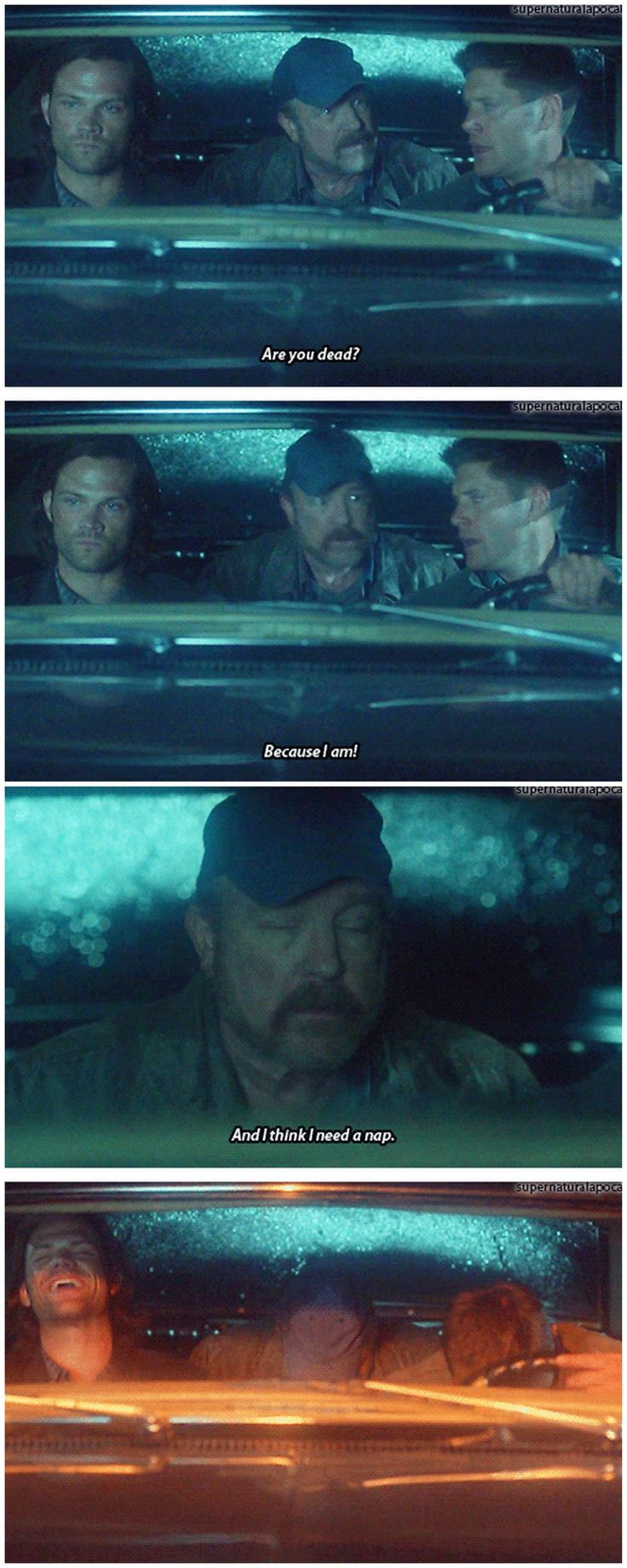 [gifset] Jensen, Jared, and Jim in Season 9 gag reel (9x01 I think I'm Going to Like It Here #SPN)