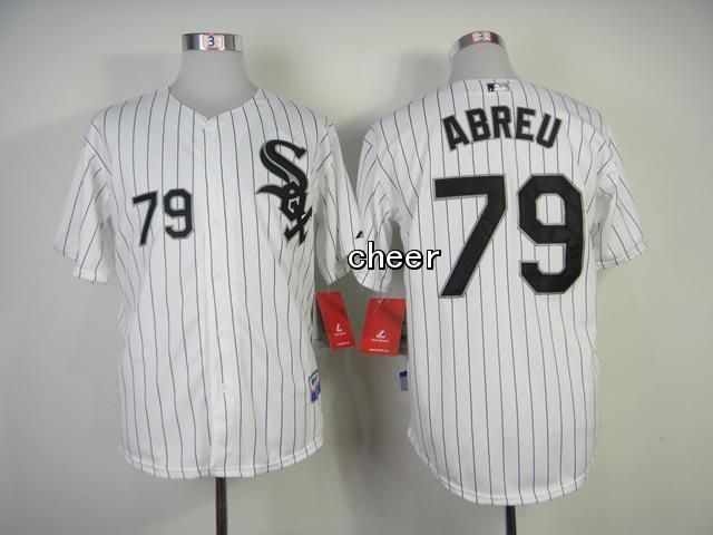 Men's MLB Chicago White Sox #79 Jose Abreu White Black Strip Cool Base