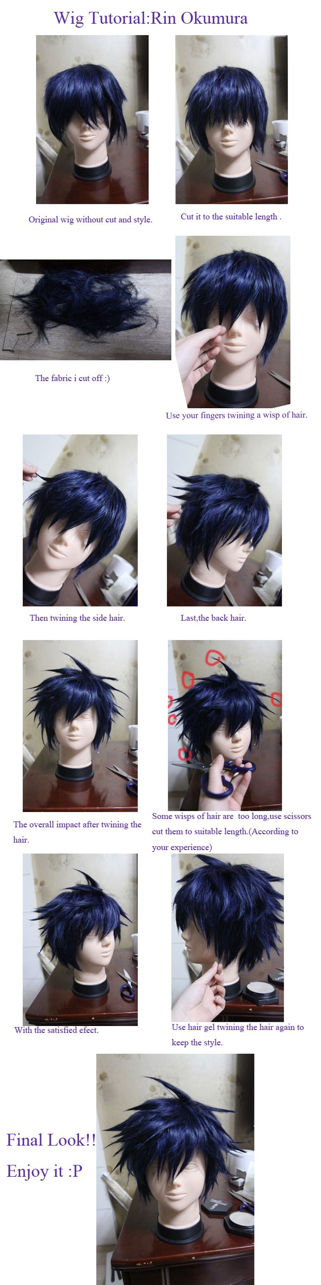Wig Tutorial Ao No Blue Exorcist Rin Okumura by kasou0630.deviantart.com on @deviantART