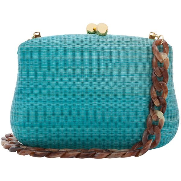 SERPUI Blair Turquoise Straw Clutch With Resin Chain (£145) ❤ liked on Polyvore featuring bags, handbags, clutches, borse, blue, woven handbags, blue handbags, chain purse, straw handbags and woven straw handbags