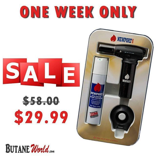 "ONE WEEK ONLY! 50% OFF on #NewportZero Turbo #Torch + #Butane 90ml  #Cheap Price: $29.99 Order Now from #ButaneWorld.com  Get Free Shipping when your order is over $50 #Coupon code: ""FREESHIP"" Cheapest Prices Guarantee & Fast Shipping  #NewportButane #Newporttorch #Deals #Offers #Cigar #CigarLighter #lighters #Flame #Fuel #Wholesale #SmokeShop #Warranty #ButaneGas #GasLighters #Lighter #CleanButane #ZeroImpurities #UltraPurified #extrapurified #SALE"