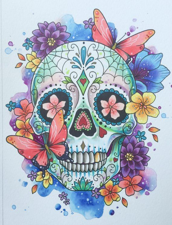 Beautiful And Detailed Day Of The Dead Sugar Skull Tattoo Print Inspired By My Love Of Colour And Tat Sugar Skull Drawing Skull Painting Sugar Skull Painting