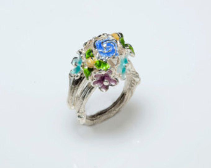 Mothers Day Gift, Flower Ring, Silver Ring, Enamel Ring, Floral Ring - Bouquet Of Flower,Botanical Jewelry, Nature Inspired, Floral Jewelry