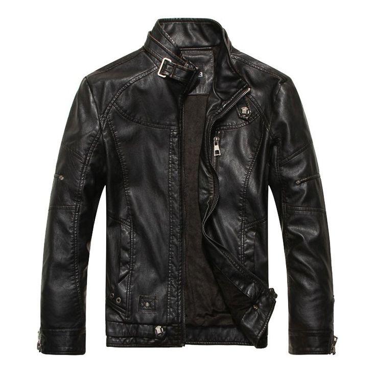 Men's PU Leather Jackets Zipper Spring / Autumn