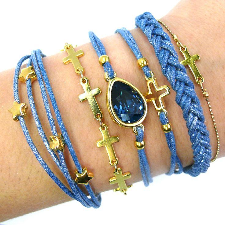 set blauwe armbanden gold plated met swaroskidruppel. prijs € 39,95