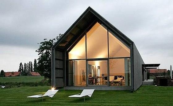 Maison bois, pignon en verre