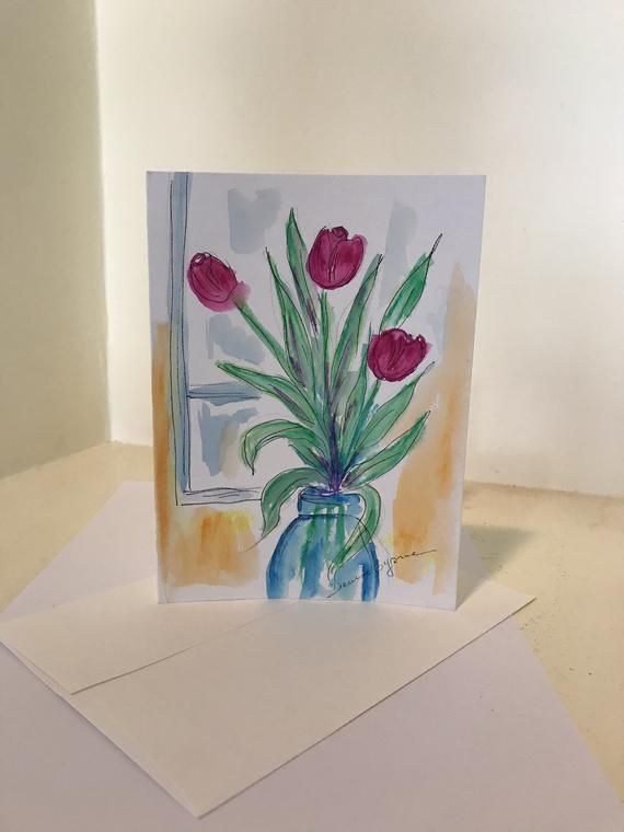 Tulips Vase Original Watercolor Greeting Cards Hand Painted