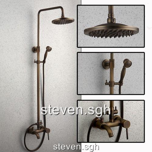 Antique Brass Shower Faucet Set With Rain Showerhead Tub