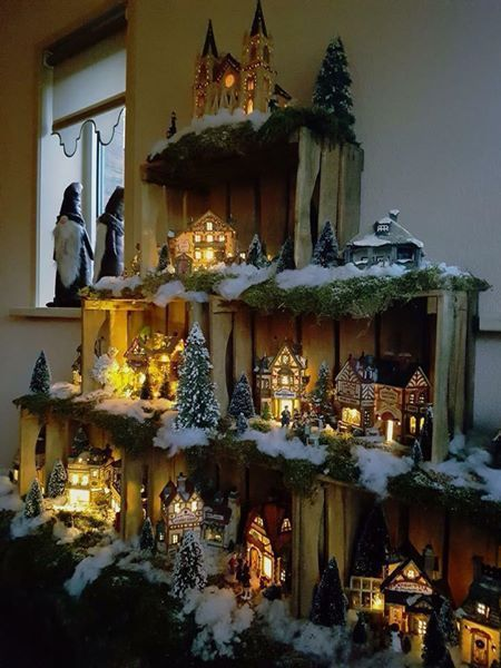 Design your own Christmas village using wood crates