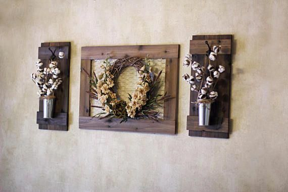 Set Of Wooden Plant Holders Rustic Wall Decor Wall Hangings