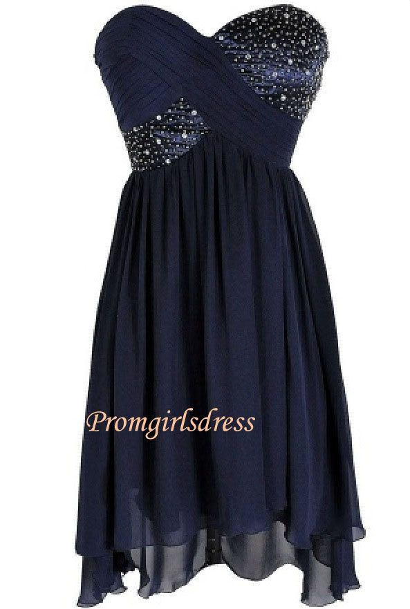 Dark Blue Homecoming Dress Short Strapless Blue by Promgirlsdress, $124.00