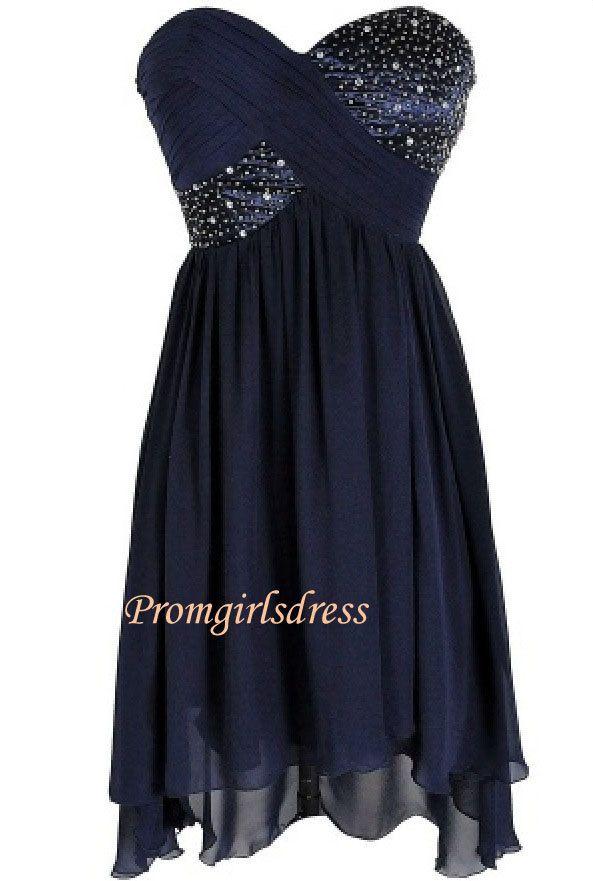 Dark Blue Homecoming Dress Short Strapless Blue by Promgirlsdress, $124.00
