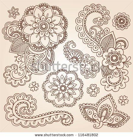 Henna Paisley Flowers Mehndi Tattoo Doodles Set- Abstract Floral Vector Illustration Design Elements - stock vector