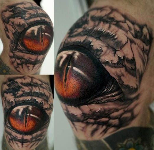 Knee Tattoo from Stefano Alcantara. #inked #Inkedmag #tattoo #Kneecap #eye #realism #creepy