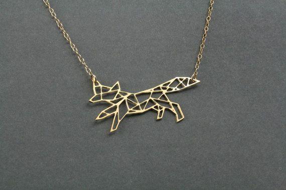 geometric fox charm fox necklace geometric by BonnyRabbitBoutique