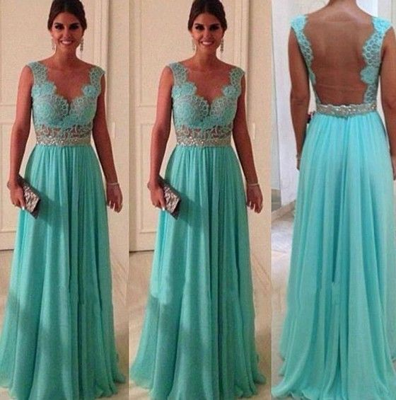 Lake Blue Plain Hollow-out Pleated Backless Lace Maxi Dress - Maxi Dresses - Dresses