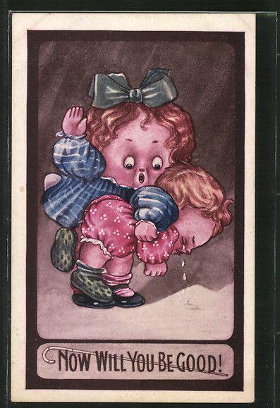 old postcard: AK Mädchen versohlt kleinem Kind das Hinterteil