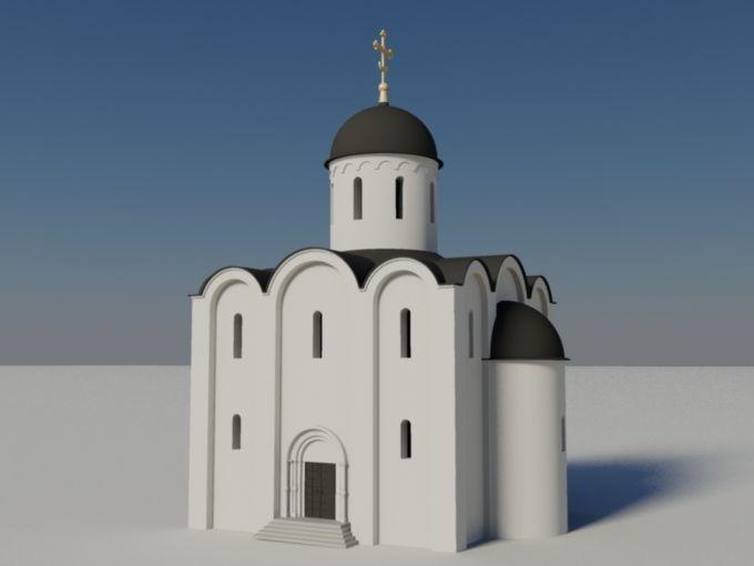 Крестово-купольный тип храма пришел в Россию из Византии и широко распространился в древнерусском искусстве. Центром композиции в нем является купол, поднятый на барабане, и опирающийся на четыре внутренних столпа. От центра крестообразно расходятся четыре помещения, перекрытые сводами. Угловые помещения, которые при этом образуются также перекрывались сводами или куполами. На модели представлен храм простейшей формы: четырехстолпный, одноглавый.