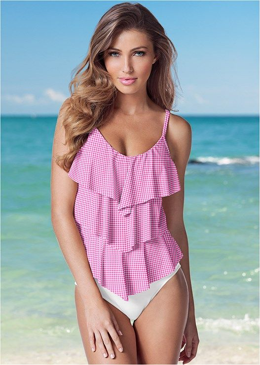 26d92cb5719d1 Venus Women s Tiered Ruffle Tankini Swimsuit Tops - Pink white