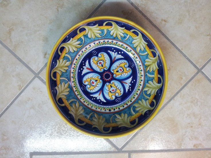 hand painted bowl made in Italy. for sale.