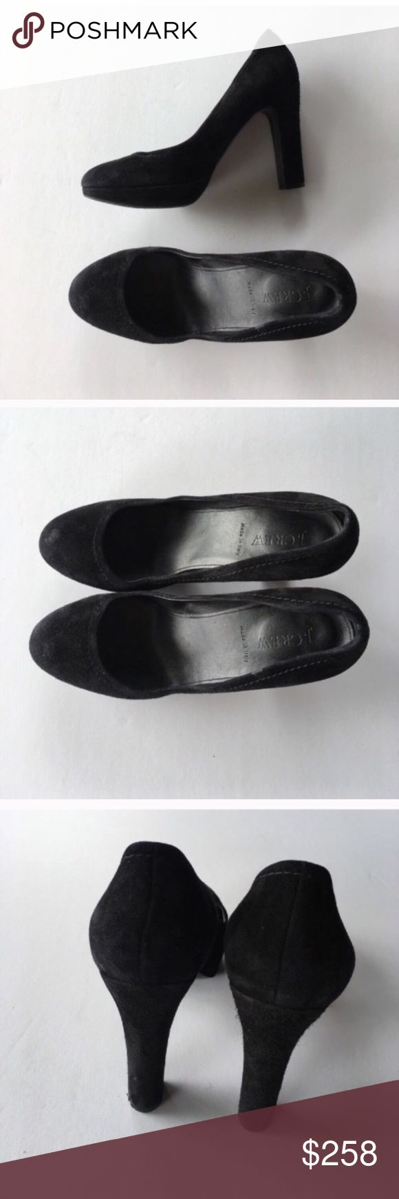 J. Crew black suede coddington pump heels Comfy and cute! In great shape, gently worn. Coddington Suede platform pumps. Perfect classic shoe. Leather and made in Italy. J. Crew Shoes Heels