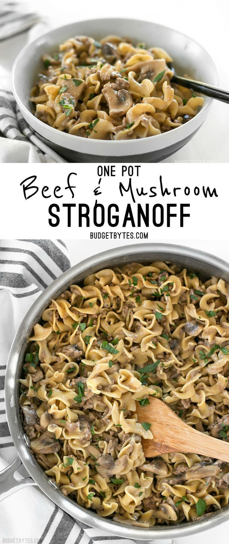 This super easy One Pot Beef and Mushroom Stroganoff is a delicious and comforting weeknight dinner. @budgetbytes