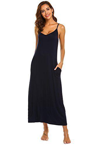 ddea7cebc84 Ekouaer Women Nightwear Lingerie Sexy Cotton Sleepwear Babydoll Pajamas  Sleep Dress (Navy Blue
