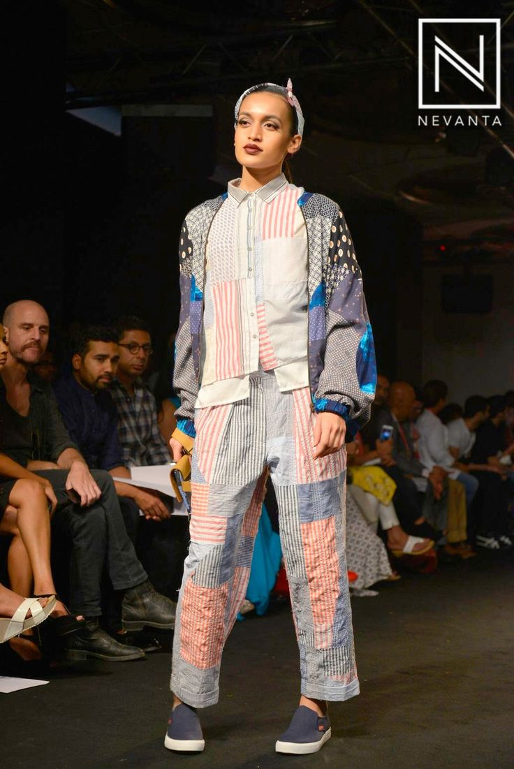 A unique patterned ensemble teamed with a contrasting #jacket by #Doodlage