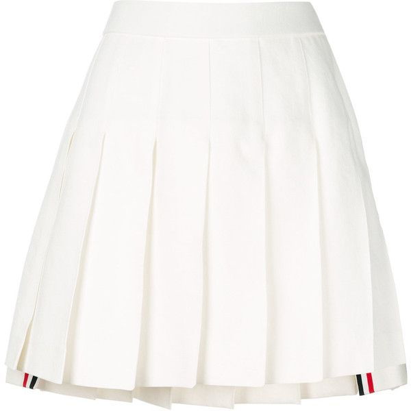 Thom Browne asymmetric pleated skirt ($1,195) ❤ liked on Polyvore featuring skirts, white, white skirt, high-waist skirt, pleated skirt, high waisted short skirts and short pleated skirt
