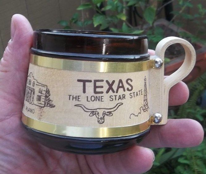 Vintage Texas Wooden and Glass Mug Lone Star State Cup