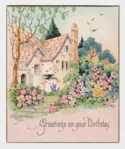 Cottage And Flower Garden Vintage Birthday Card