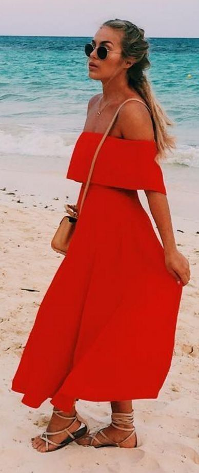 #summer #trending #outfits | Red Off The Shoulder Maxi Dress