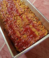Vegetarian and vegan lentil loaf with ketchup sub dried sage with two tsp fresh minced sage