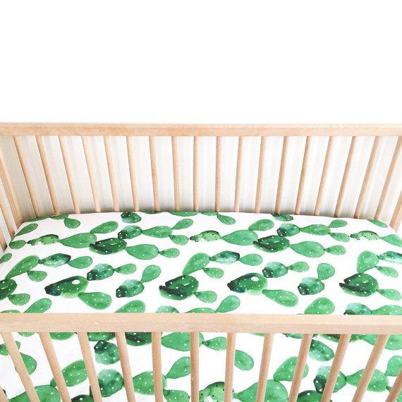 Crib Sheet Watercolor Cactus. Fitted Crib Sheet. Baby Bedding. Crib Bedding. Minky Crib Sheet. Crib Sheets.