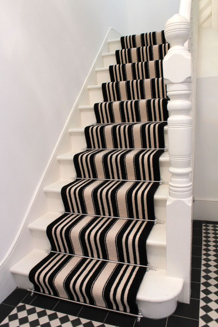Striped Carpet   Black U0026 White With Stair Rods