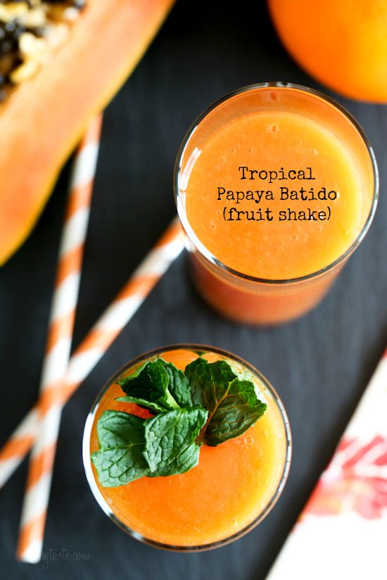 A sunlit, vitamin-packed tropical fruit shake made with pink-hued papayas, fresh squeezed oranges and bananas.